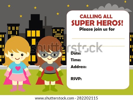 superhero girl birthday invitation stock vector royalty free
