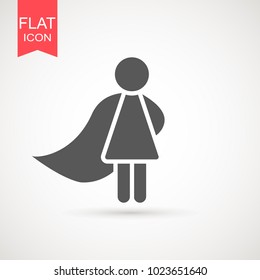 Superhero girl stick figure with cape