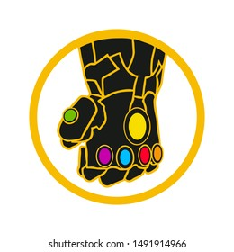 Superhero glove. Glove with multicolored gems. Thanos Glove. Vector. EPS 10.