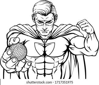 A superhero golf sports mascot holding a ball