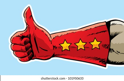Superhero hand giving the thumbs up