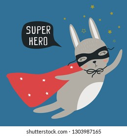 Superhero hare. Vector illustration for printing on a postcard, clothes, poster, banner. Cute baby background with funny animal.