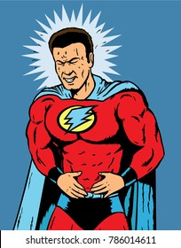 Superhero having extreme stomach pain