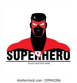 Superhero head. man with the mask and red costume. elegant superhero silhouette compose with text. half body of superhero combine with text. Text placed on the separated layer.