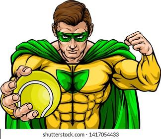 Superhero Holding Tennis Ball Sports Mascot