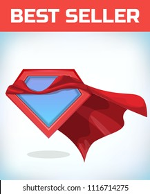Superhero icon - Superhero logo. Super hero shield with Funny super hero flying with cloak. Masquerade costume. Carnival or Halloween Cartoon Vector illustration.