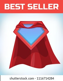 Superhero icon - Superhero logo. Super hero shield with Funny super hero flying with cloak. Masquerade costume. Carnival or Halloween Cartoon Vector illustration