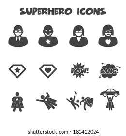 superhero icons, mono vector symbols
