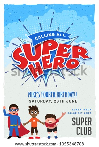 Superhero invitation card design kids birthday stock vector royalty superhero invitation card design for kids birthday party filmwisefo