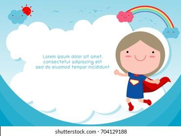 Superhero kid against blue sky background,Template for advertising brochure,your text ,Cute little Superhero Children's, Kids and frame,child and frame,Vector Illustration, kids