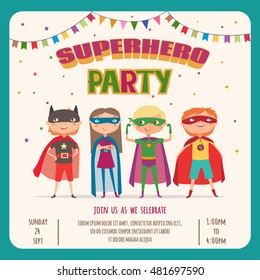 Superhero kids boys and girl. Card invitation with group of cute kids. Vector illustration