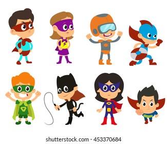 Superhero kids boys and girls cartoon vector illustration. Super children illustration.