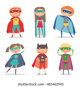 Superhero kids boys and girls. Super kids cartoon vector illustration