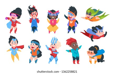 Superhero kids. Cartoon boys and girls characters in superhero comic costumes, cute children playing. Vector happy kids isolated on white
