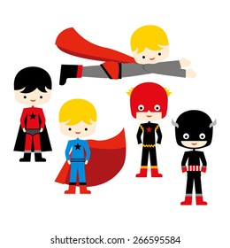 Superhero kids. Cute vector.