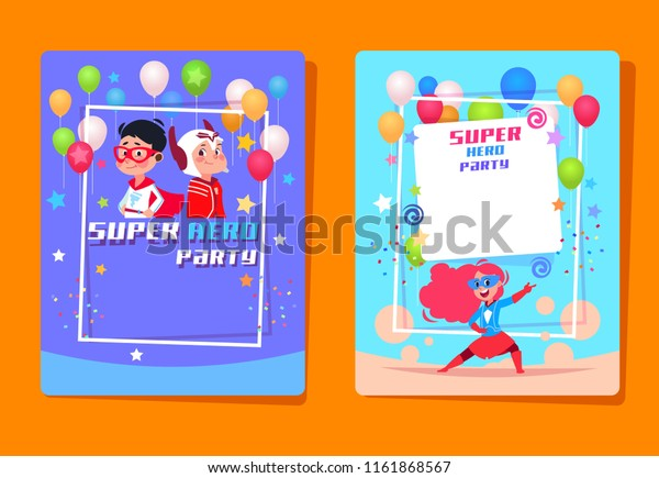 Superhero Kids Party Preschool Children Superheroes Stock