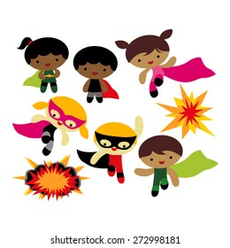 Superhero kids vector.