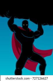 Superhero lifting huge boulder with black copy space.