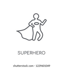 Superhero linear icon. Modern outline Superhero logo concept on white background from Professions collection. Suitable for use on web apps, mobile apps and print media.