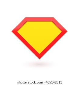Superhero logo icon.Yellow with red shield icon emblem. Vector diamond symbol shape superhero logo icon.