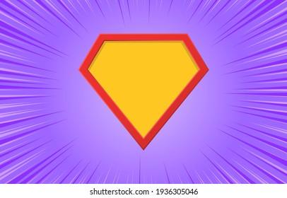 Superhero logo with motion radial lines on purple background. Blank comic super hero icon. Empty shield symbol. Cartoon template design. Comics style, explosion background. Vector illustration