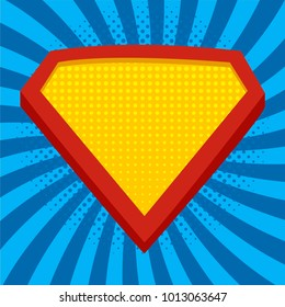 Superhero logo template at bright blue, pop art background. Vector, isolated,