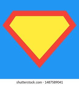 Superhero-Logo-Vorlage auf hellblauem Hintergrund. Form des Superhelden-Schildes einzeln auf blauem Hintergrund.