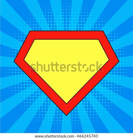 superhero logo template bright blue pop のベクター画像素材