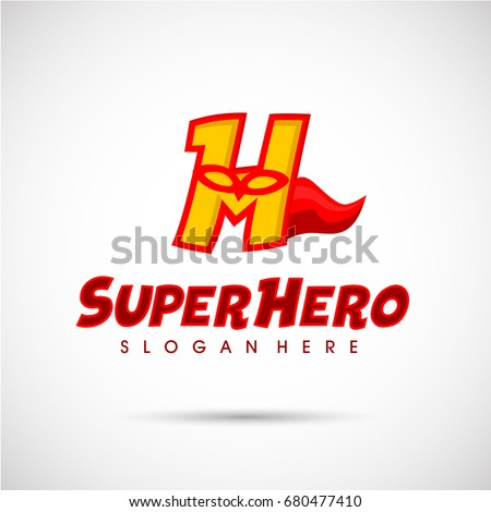 superhero logo template letter h mask stock vector royalty free