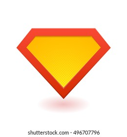 Superhero logo template. Red, yellow and orange. Vector, isolated, eps10.