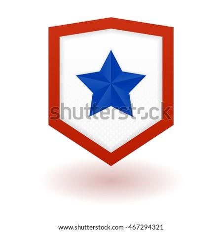 superhero logo template shield star inside stock vector royalty