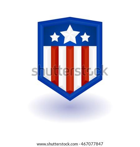 superhero logo template shield stars stripes stock vector royalty