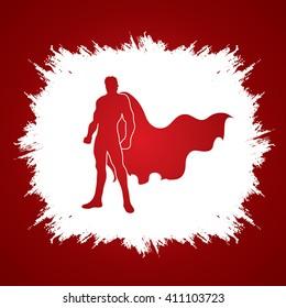 Superhero Man standing on grunge frame background graphic vector.