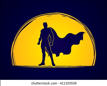 Superhero Man standing on moonlight background graphic vector.