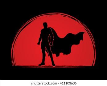 Superhero Man standing on sunrise background graphic vector.