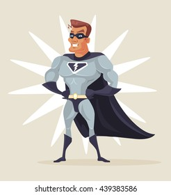 Superhero man. Vector flat cartoon illustration
