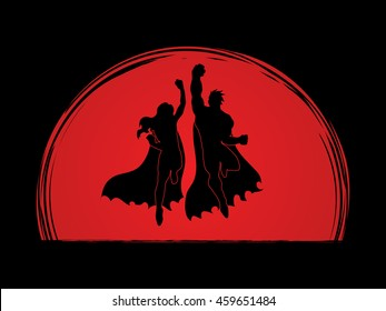 Superhero Man and Woman jumping designed on sunlight background graphic vector.
