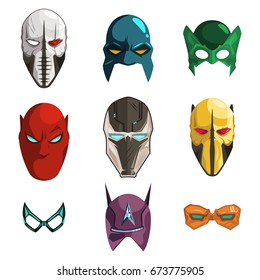 Superhero mask on face and eyes vector cartoon comics set isolated on white background. Illustration in the flat style of different helmets for heroes and villains.