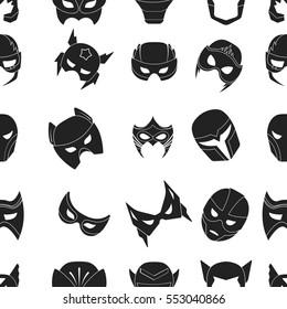 Superhero mask pattern icons in black style. Big collection of superhero mask vector symbol stock illustration