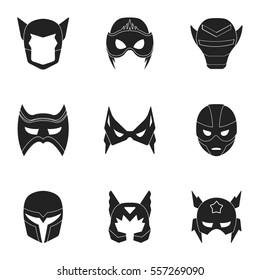 Superhero mask set icons in black style. Big collection of superhero mask vector symbol stock illustration