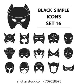 Superhero mask set icons in black style. Big collection of superhero mask vector symbol stock illustration