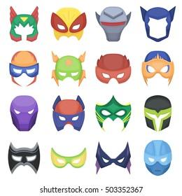 Superhero mask set icons in cartoon style. Big collection superhero mask vector symbol stock illustration