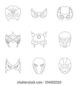 Superhero mask set icons in outline style. Big collection of superhero mask vector symbol stock illustration