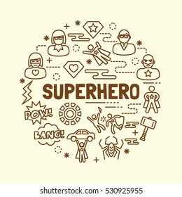 superhero minimal thin line icons set, vector illustration design elements