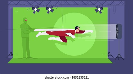 Superhero movie semi flat vector illustration. Green screen for special effects. Action film creation. Modern filming technologies. Professional team 2D cartoon characters for commercial use