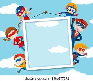 Superhero on on sky frame illustration