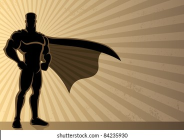 Superhero over grunge background with copy space.