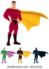 Superhero over white background. Below are 3 additional versions. One of them is silhouette.