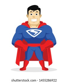 Superhero over white background, brave super hero with smile