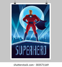 Superhero. Overnight city. Poster layout